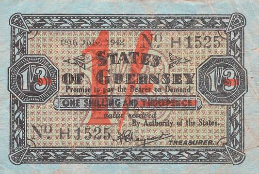 1 shilling sur 1 shilling 3 pence Type 1942 Pick##27