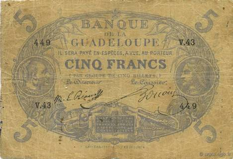 5 francs Bleu Type 1874 Pick##6