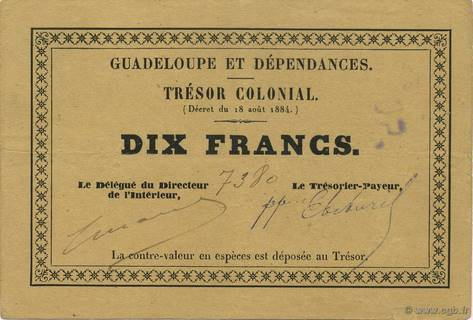 10 francs Trésor colonial Type 1884  Pick##5