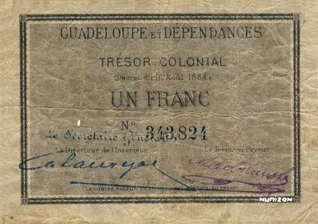 1 franc Trésor colonial Type 1884  Pick##2