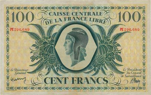 100 francs France libre Type 1943  Pick##NA