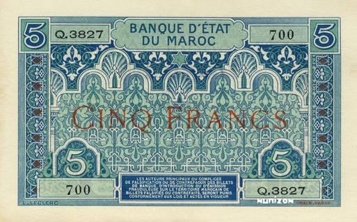 etat MAROC  MOROCCO  1 franc  1945