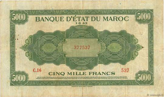 5000 francs Type 1943  (US) Pick##32