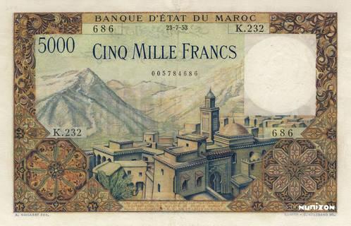 5000 francs Type 1951  Pick##49