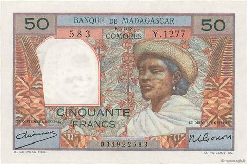 50 francs Type 1950 Madagacar et Comores Pick##45