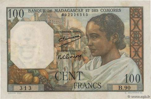 100 francs Type 1950 Madagascar et Comores Pick##46