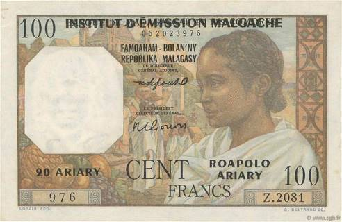 100 francs - 20 Ariary Type 1961 Pick##52
