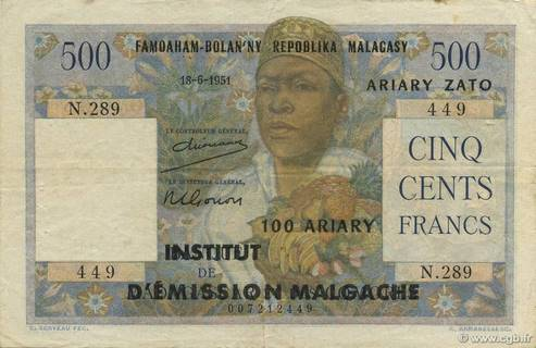 500 francs - 100 Ariary Type 1961 Pick##53