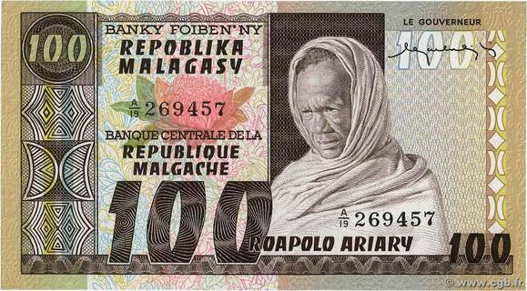 100 francs - 20 Ariary Type 1974 Madagascar Pick##63