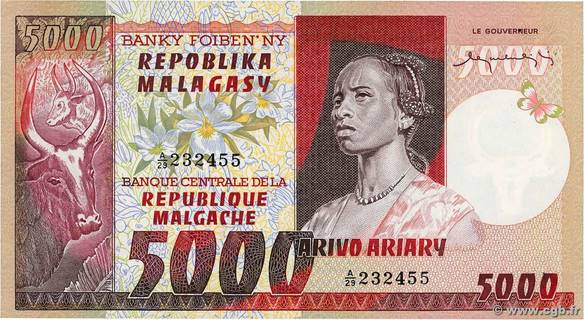 5000 francs - 1000 Ariary Type 1974 Madagascar Pick##66