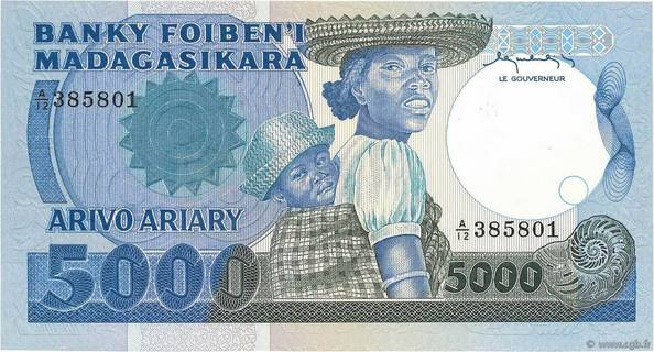 5000 francs - 1000 Ariary Type 1983 Madagascar Pick##69