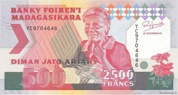 2500 francs - 500 Ariary Type 1993 Madagascar Pick##72A