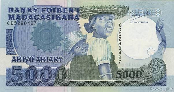 5000 francs - 1000 Ariary Type 1988 Madagascar Pick##73