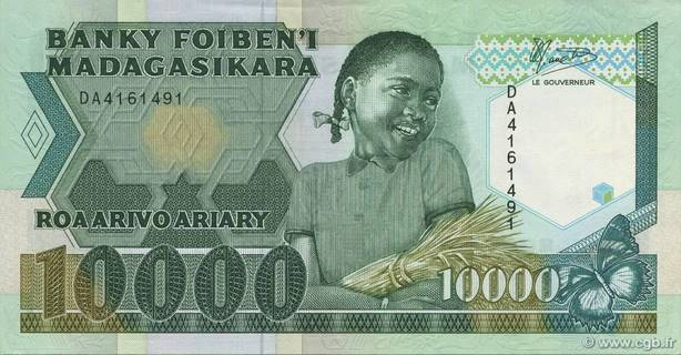 10000 francs - 2000 Ariary Type 1988 Madagascar Pick##74