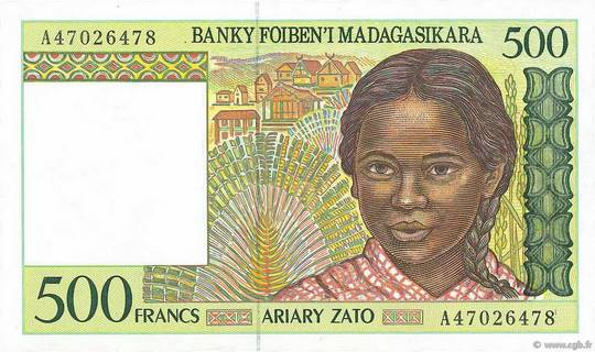 500 francs - 100 Ariary Type 1994 Madagascar Pick##75
