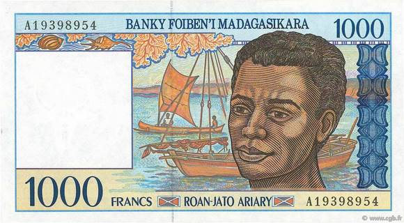 1000 francs - 200 Ariary Type 1994 Madagascar Pick##76