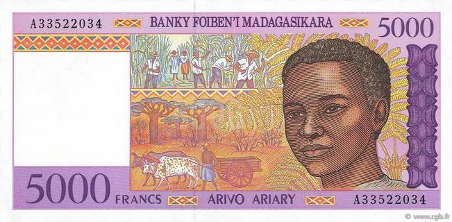 5000 francs - 1000 Ariary Type 1995 Madagascar Pick##78