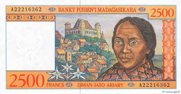 2500 francs - 500 Ariary Type 1998 Madagascar Pick##81