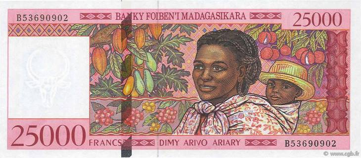 25000 francs - 5000 Ariary Type 1998 Madagascar Pick##82