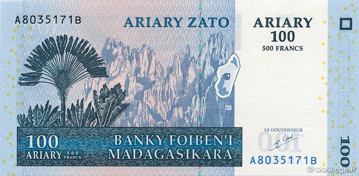 100 Ariary - 500 francs Type 2004 Madagascar Pick##86