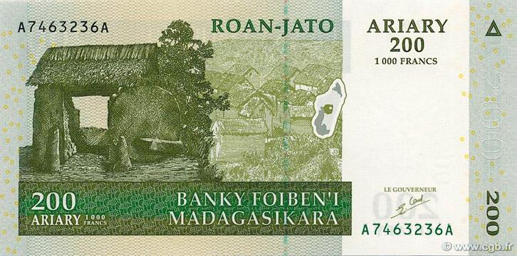 200 Ariary - 1000 francs Type 2004 Madagascar Pick##87
