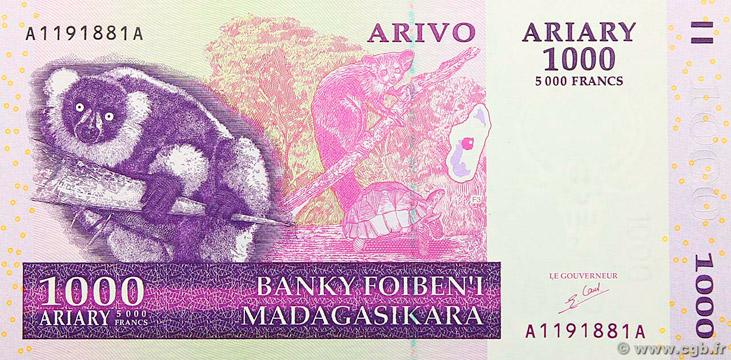 1000 Ariary - 5000 francs Type 2004 Madagascar Pick##89