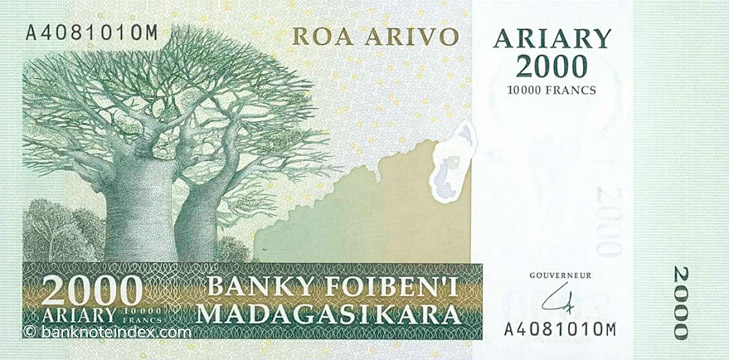 2000 Ariary - 10000 francs Type 2006 Madagascar Pick##90A
