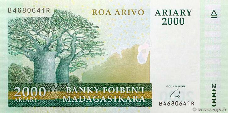2000 Ariary Type 2008 Madagascar Pick##90B