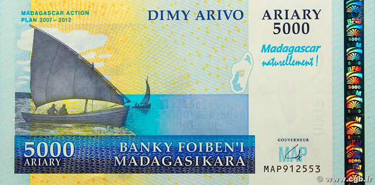 5000 Ariary Type 2007 Madagascar Pick##94