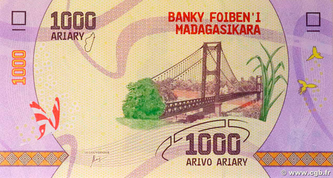 1000 Ariary Type 2017 Madagascar Pick##100