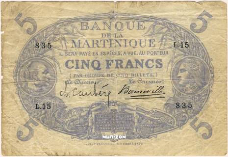 5 francs Bleu Type 1874 Pick##5C