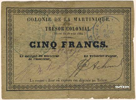 5 francs Trésor colonial Type 1885  Pick##4A