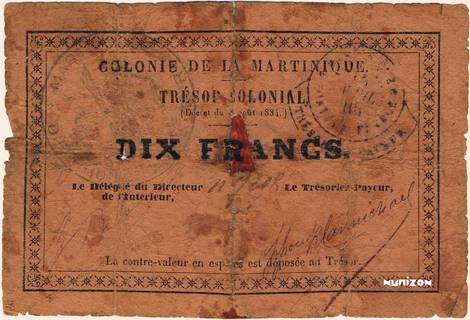 10 francs Trésor colonial Type 1885  Pick##5