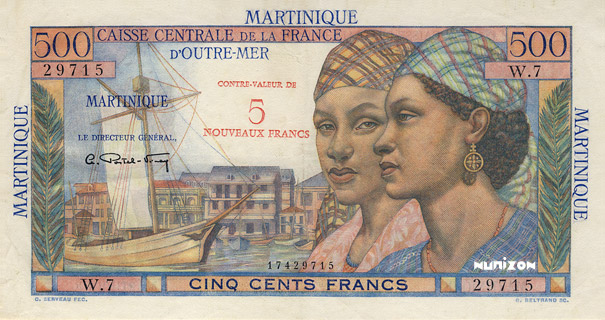5 NF/500 francs Pointe à Pitre Type 1946 Pick##38