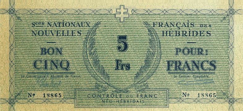 5 francs Nouvelles-Hébrides Type 1943 Pick##1