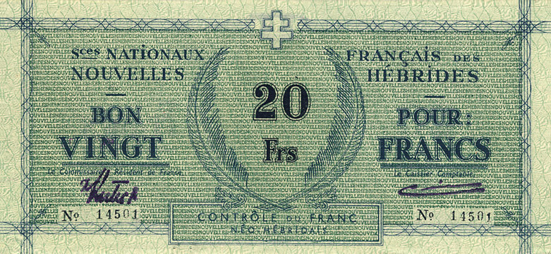 20 francs Nouvelles-Hébrides Type 1943 Pick##2