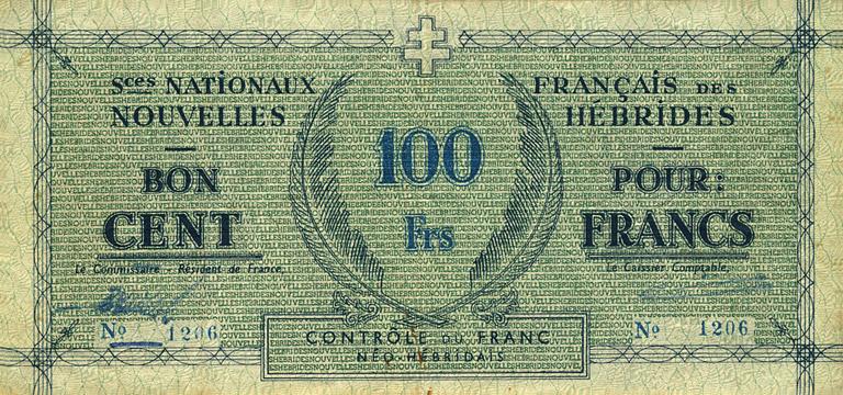 100 francs Nouvelles-Hébrides Type 1943 Pick##3