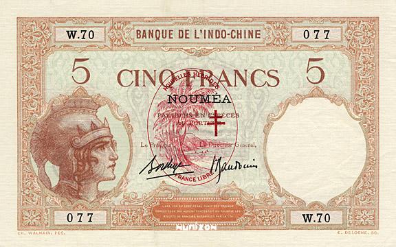 5 francs Nouvelles-Hébrides Type 1941 Pick##4