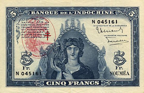 5 francs Nouvelles-Hébrides Type 1945 Pick##5
