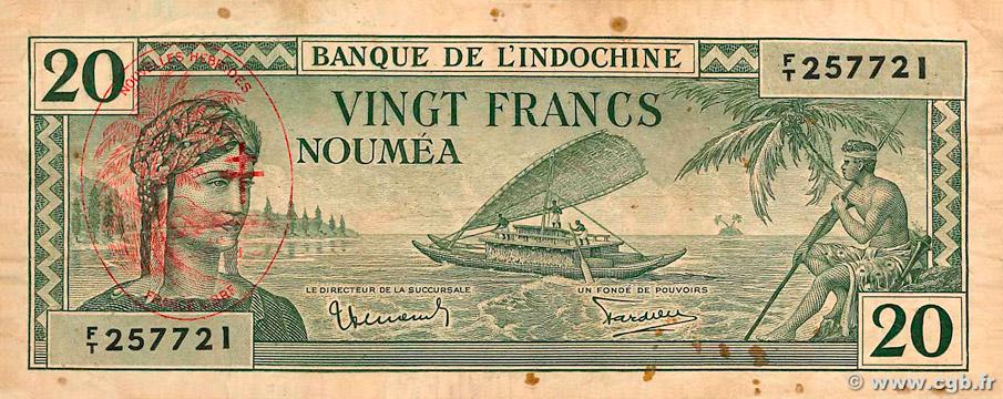 20 francs Nouvelles-Hébrides Type 1945 Pick##7