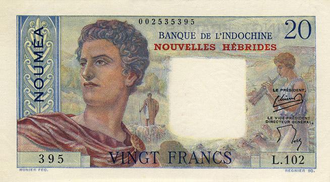 20 francs Nouvelles-Hébrides Type 1954 Pick##8