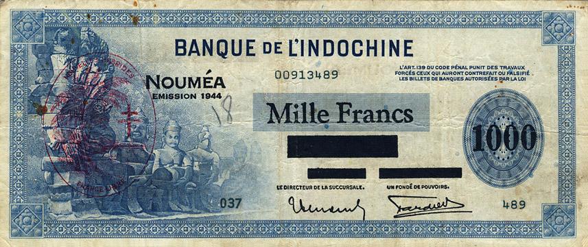 1000 francs Nouvelles-Hébrides Type 1944 Pick##13