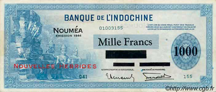 1000 francs Nouvelles-Hébrides Type 1944 Pick##14