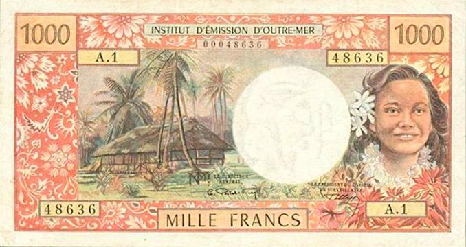 1000 francs Nouvelles-Hébrides Type 1967 Pick##17