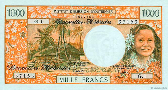 1000 francs Nouvelles-Hébrides Type 1970 Pick##20