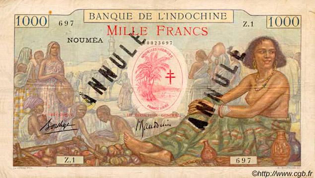 1000 francs Nouvelles-Hébrides Type 1941 Pick##14A
