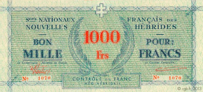 1000 francs Nouvelles-Hébrides Type 1943 Pick##3B
