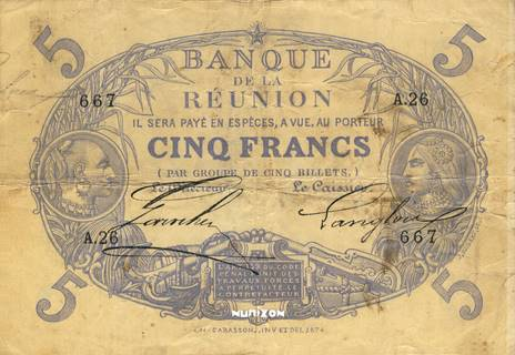 5 francs Cabasson bleu Type 1874  Pick##13