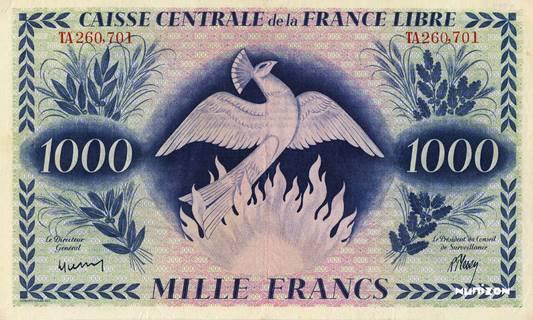 1000 francs France libre Type 1943  Pick##38