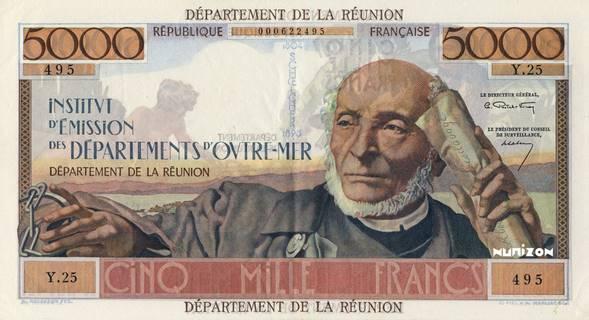5000 francs Schoelcher département Type 1964 Pick##53